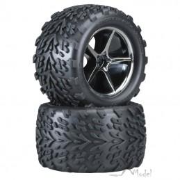 Tires and rims E - revo 1/16 (2) Traxxas