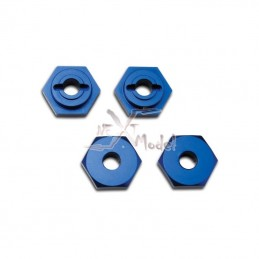 Wheel hubs, hex aluminium blue