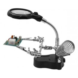 Third-hand precision with flexible magnifying glass, LED and support soldering iron