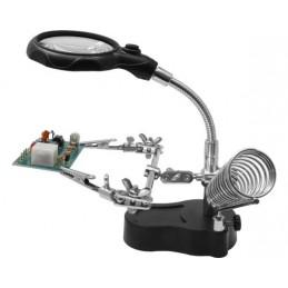 Troisième main de précision avec loupe flexible, LED et support fer à souder