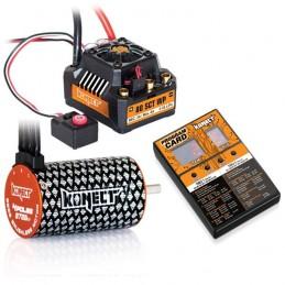 Combo brushless 1/10 ESC 80A SCT + moteur 4P 3660SL 3700KV + carte prog. Konect