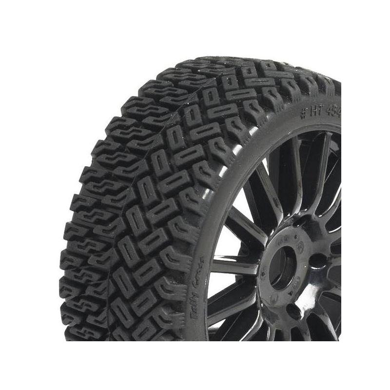 rallycross tyres on rim to black sticks 1 8 hobbytech tt ht 454b. Black Bedroom Furniture Sets. Home Design Ideas