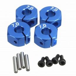 Hexagones de roues alu bleu 12mm x 7mm (4)