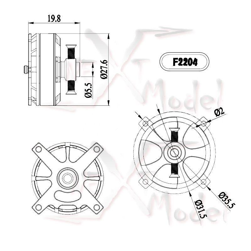 F2204 Gartt 1800kv Brushless Motor Mt 122