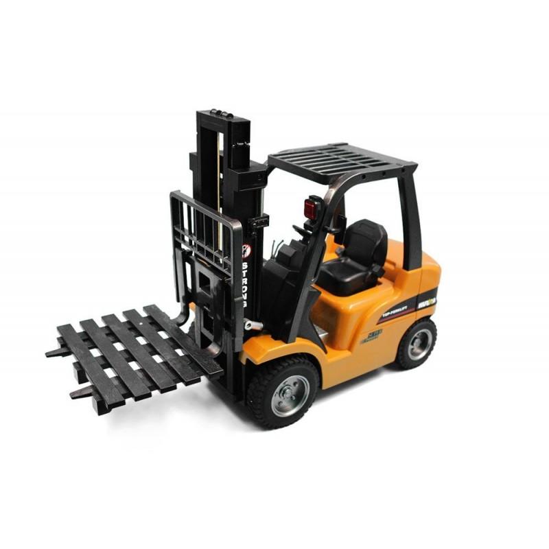 Chariot élévateur RC avec cabine et fourche métal 1/10 2.4Ghz - HuiNa
