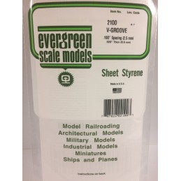 Plaque rainurée en V 0.50x2.5x150x300mm Ref : 2100 - Evergreen