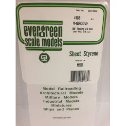 Plaque rainurée en V 1.0x4.8x150x300mm Ref : 4188 - Evergreen