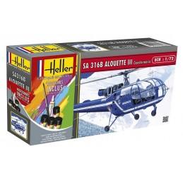 Alouette III Gendarmerie 1/72 Heller + glues and paints