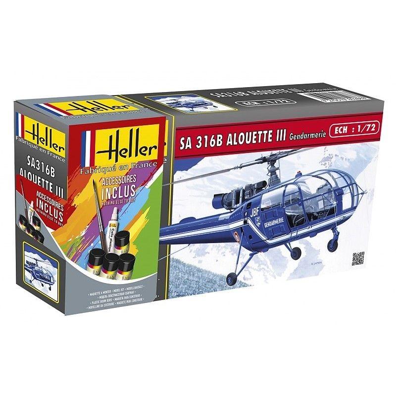 Alouette III Gendarmerie 1/72 Heller + colle et peintures