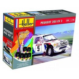 Peugeot 205 EV2 1/24 Heller + colle et peintures