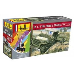 Jeep Willys US 1/4 TON Truck & Trailer 1/72 Heller + colle et peintures