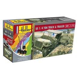 Jeep Willys US 1/4 your Truck & Trailer 1/72 Heller + glues and paints