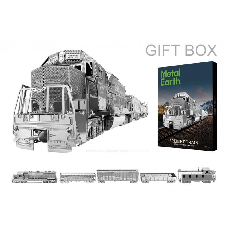Freight Train Metal Earth 3D Laser Cut Model Kit Box Set Engine /& 4 Cars MMG104