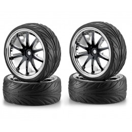 Roues 10 rayons noir / chrome 26mm 1/10 (4) Carson
