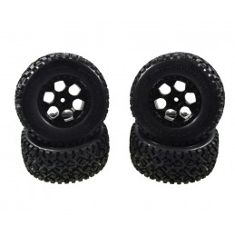 Short race X 10 black wheels, 1/10 (4) Carson