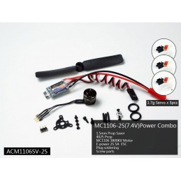 Indoor motorization Kit BLS 1106 + ESC 2S + propeller + 3 servos DW hobby