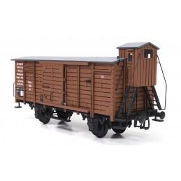 Wagon de marchandise couvert avec guérite 1/32 kit construction bois métal OcCre
