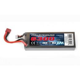 Li-Po 6300mAh 60C 2S 7.4V coqué (Dean) T2M T1366002C
