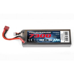 Li-Po 7300mAh 60C 2S 7.4V coqué (Dean) T2M T1373002C