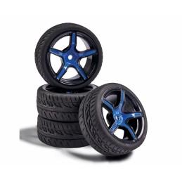 Roues 5 rayons noir / bleu 26mm 1/10 (4) Carson 500900167