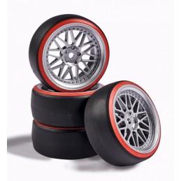 Roues drift gris / rouge 26mm 1/10 (4) Carson 500900156