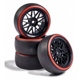 Roues drift noir / rouge 26mm 1/10 (4) Carson 500900157